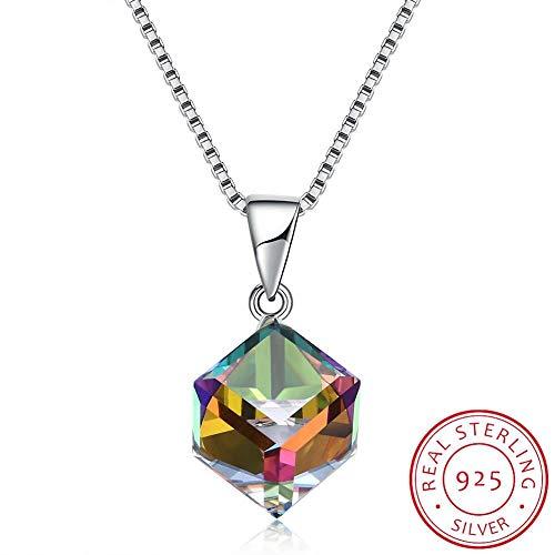 GYXYZB Kristall Aus 925Er Sterlingsilber Halskette Square Crystal Cube Anhänger Halskette Edlen Schmuck Weiblichen Collares - Crystal Cube-anhänger