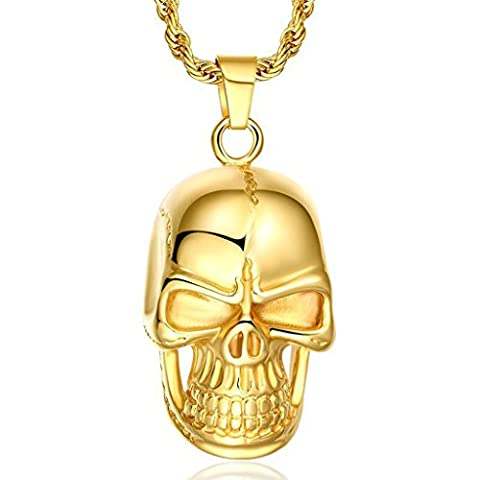 AnaZoz Fashion Jewelry Simple Personality Luxury 18k Gold Filled Skull