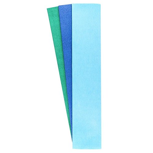 Krepp-Papiere, 50cm x 200cm, 3 Stück (himmelblau, blau, aquagrün)