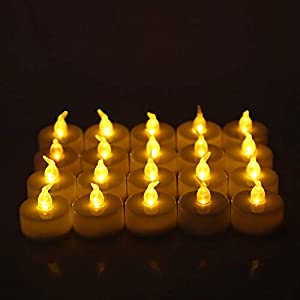 Janly Candle Light export (48 packs) realistic and bright battery operated flashing flameless tea lights with candles including batteries by Janly