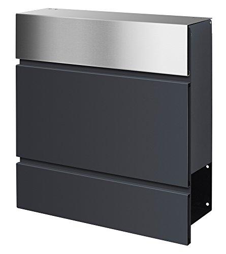 Frabox Design Briefkasten LENS Edelstahl / Anthrazitgrau