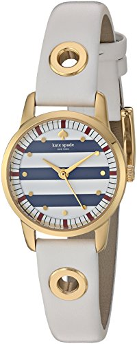 KATE SPADE WOMEN'S LEATHER BAND GOLD TONE STEEL CASE QUARTZ WATCH KSW1136