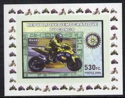 Congo 2006 Motorcycles #4 - Honda & Rotary Logo individual imperf dlx sht u/m MOTORBIKES ROTARY JandRStamps - Honda Rotary