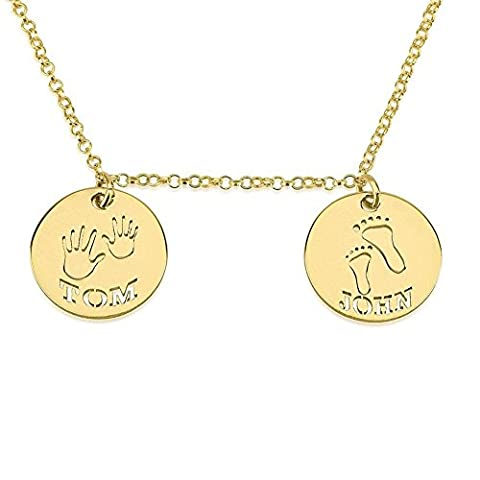 HACOOL Personalized Sterling Silver Baby Footprint Necklace Mom and Child Charm Custom Made with 2 Names