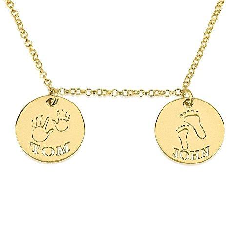 HACOOL personalizzata-Collana in argento Sterling, motivo: impronte dei bambini, con ciondolo personalizzato nome, Argento, cod. 342-610-813 - Monogram 30 Single