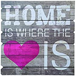 'Out of the Blue 810252 Cartel de madera con texto Home is where the heart is ""