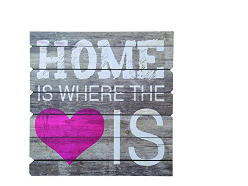 'Out of the Blue 810252 Cartel de madera con texto Home is where the heart is