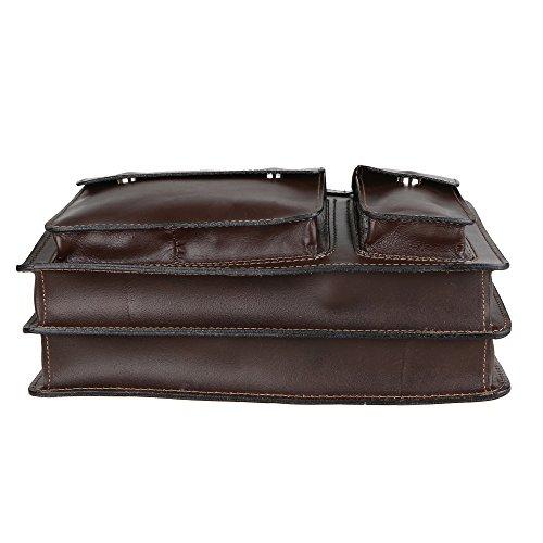 Chicca Borse Handbag Borsa a Mano Portadocumenti Organizer Uomo Donna Taglia Intermedia con Tracolla in Vera Pelle Made in Italy 34x24x12 Cm Marrone scuro