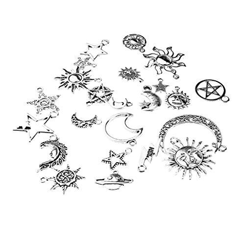 F Fityle Großhandel Mond Stern-Sonnen Form Anhänger Silberperlen für Charm Armbänder Handy Cap, Schuhbeutel dekorative ()