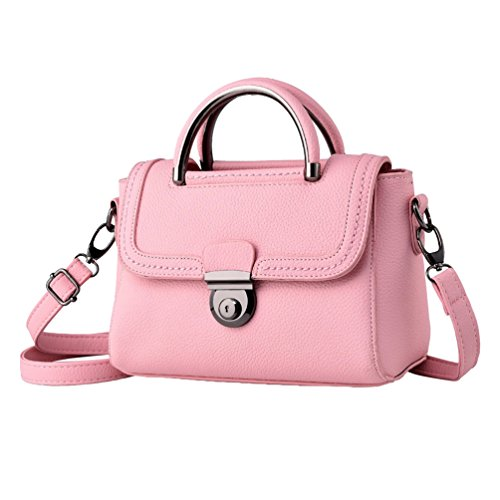 YAANCUN Donna Borsa Di Pelle Sintetica Top Handle Bag Cartella Della Spalla Rosa