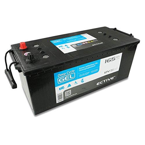 ECTIVE EDC-Serie | 12V 165Ah Gel Batterie | 6 Varianten: 70 - 250Ah | Versorgerbatterie Solarbatterie Gelbatterie wartungsfrei | Wartungsfreier Solar Akku für Wohnwagen USV Boot und Wohnmobil (165 Ah)