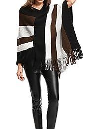 248e7a950992 Cikuso Echarpe lache a glands pour femmes d automne d hiver Pull chandail  vintage a col chale en tricot a rayures et a…