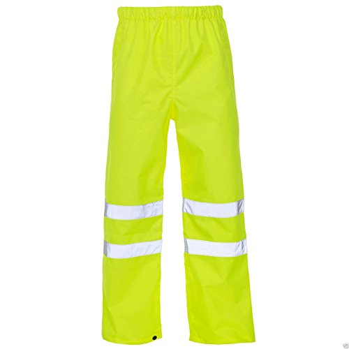 Price comparison product image Mens Hi Vis Safety Waterproof Rain Over Trouser Work High Viz Visibility Pants_Yellow_5XL