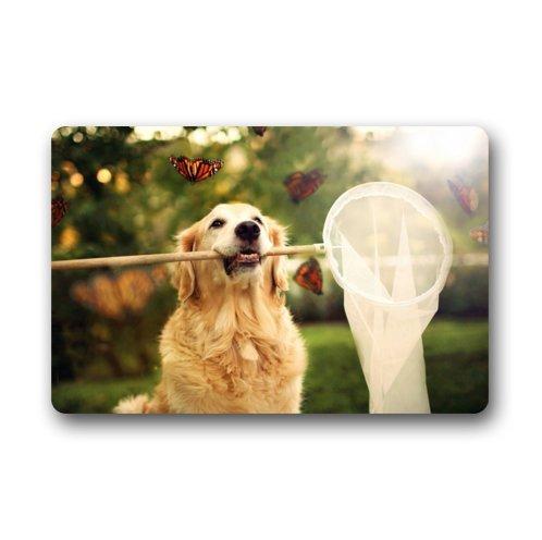 Dogs doormats Custom Cute Golden Retriever Hundematte für drinnen/draußen Floor Mat (23,6 x 39,88 cm) -