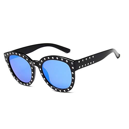 ZHOUYF Sonnenbrille Fahrerbrille Luxus Italienische Marke Sonnenbrille Frauen Kristall Platz Sonnenbrille Spiegel Retro Volle Sterne Sonnenbrille Weiblich Schwarz Grau Shades, B