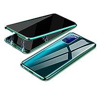 حافظة مونكيس جالاكسي نوت 20، حافظة مضادة للبصر، إطار معدني ممتص مغناطيسي + غطاء من الزجاج المقسى حافظة واقية لكامل الجسم لهاتف سامسونج جالاكسي نوت 20، لون أخضر