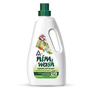 Nimwash Vegetable & Fruit Wash I 1000 ml I 100% Natural Action, Removes Pesticides & 99.9% Germs,with Neem and Citrus Fruit Extracts , Safe to use on veggies and fruits | Disinfects veggies & fruits