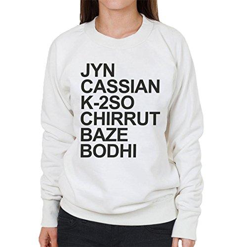 Star Wars Rogue One Arial Bold Character List Women's Sweatshirt white