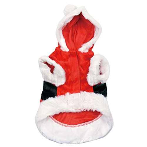 UEETEK Weihnachtsmann Kostüm für Hunde mit Kapuze Weihnachten Haustier Kleidung für Hunde Katzen Welpen size XS