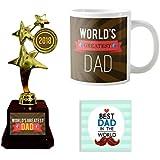 YaYa Cafe Worlds Greatest Dad Trophy Gift Combo Set Of 3 - Trophy, Mug And Coaster
