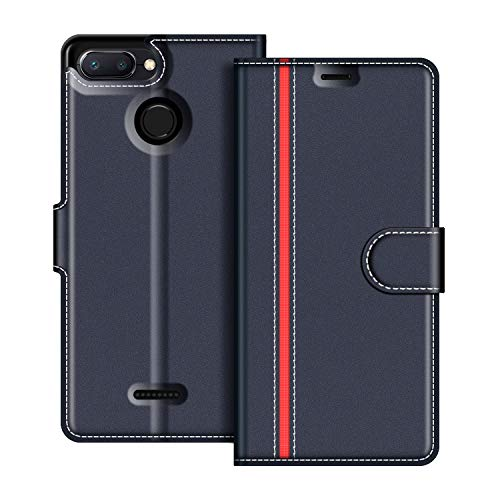 COODIO Xiaomi Redmi 6 Hülle Leder, Xiaomi Redmi 6A Lederhülle Ledertasche Wallet Handyhülle Tasche Schutzhülle mit Magnetverschluss/Kartenfächer für Xiaomi Redmi 6 / 6A, Dunkel Blau/Rot