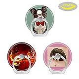 Ringqueens Handy-Ringhalter mit 3 Haken für Smartphones/Fire / Musik/Noten, Glitzernd/Hipster / Boston/Terrier mit Roter Brille