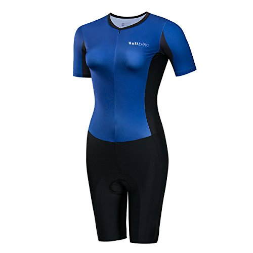 Lo. Gas Damen Triathlon 2014 Atmungsaktiv Short Sleeve Racing/Radfahren Skinsuit quicy Dry Pure Color Tri Suit, Blau, X-Large