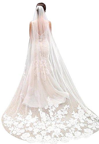 Schleier Tier-soft-tüll Eine Hochzeit (AZNA Hochzeit Schleier Kathedrale Länge Lace Edge Soft Tüll Sheer Long White Brautschleier mit Kamm, (3M) (Weiß))