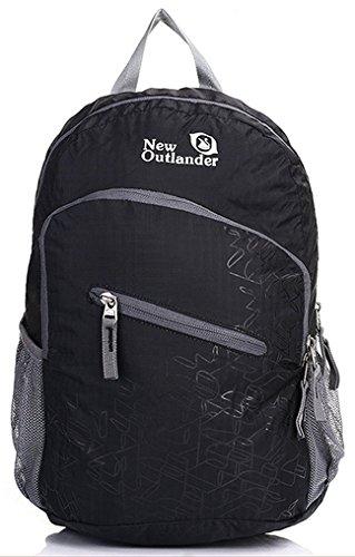 Outlander Packable práctico ligero viaje senderismo Gear Mochila Daypack, negro