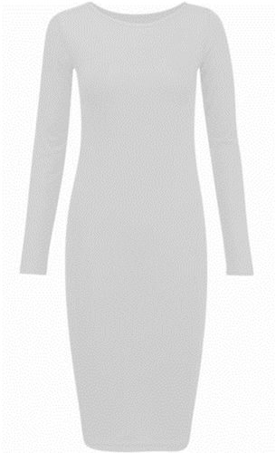 Frauen plus size Langarmtrikot midi bodycon Stretchkleid White