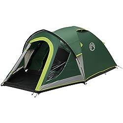 Coleman Tente Kobuk Valley 3, tente de camping, toile de tente 3 personnes avec Technologie BlackOut Bedroom, tente festival, tente dôme ultra légère, tente bivouac 3 places, 100% imperméable