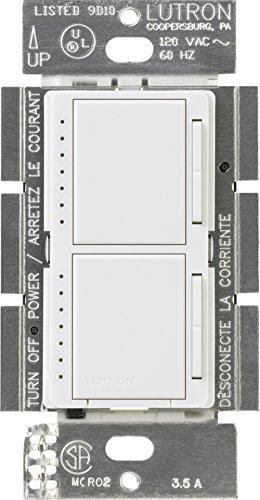 Lutron MA-L3L3-WH Maestro 300 Watt (top)/300 Watt (bottom) Single Pole Dual Dimmer, White by Lutron