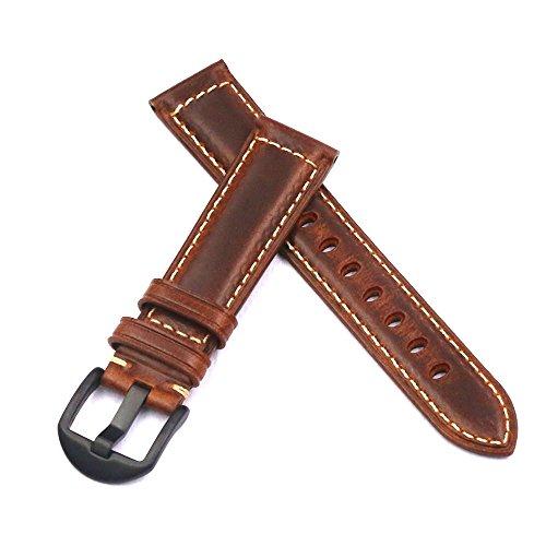 HVDHYY Uhrenarmband Herrenuhr Band Panerai Vintage Ersatzband Schwarz Stahl Schnalle für alle Arten von traditionelle Sportuhr Zubehör 22mm Braun