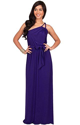 KOH KOH® Plus Size Damen Ein Schulter Langes Maxikleid Brautjungfern Cocktail Party Kleid, Farbe Violett / Lila, Größe 3XL / 3X Large (3) (Plus Größe Lila Göttin Kostüme)