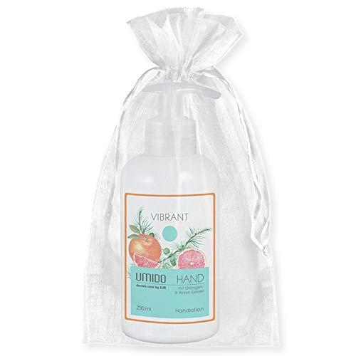 UMIDO Beautyset | 1x Handlotion 250 ml Orangen-Extrakt & Pinien-Extrakt | OHNE Silikone & Parabene | 1x Organza-Säckchen | Handcreme | Pflegecreme (6-BYS) (7-WHT)