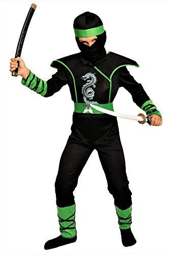 Magicoo Cobra Ninja Kostüm für Kinder Jungen grün-schwarz - Faschingskostüm Ninja Kinder Kostüm (134/140) (Green Ninjago Kostüm)