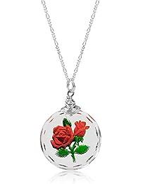 925la rosas plata vintage Cristal Cadena