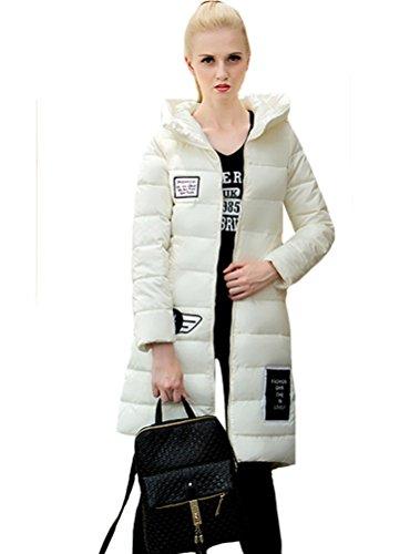 Vogstyle Damen Kapuzen Lange Daunenjacke Mantel EU 34-44 Weiß