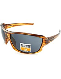 STONE men/'s Wrap Sunglasses Shiny Black with Fire Red Mirror CAT.3 Lens ST521