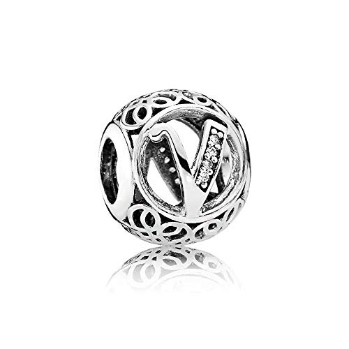 Charm-Anhänger, 925 Sterlingsilber, Motiv: Buchstabe des Alphabets, für Pandora-Armbänder, kompatibel mit europäischen Armbändern (Buchstabe V)