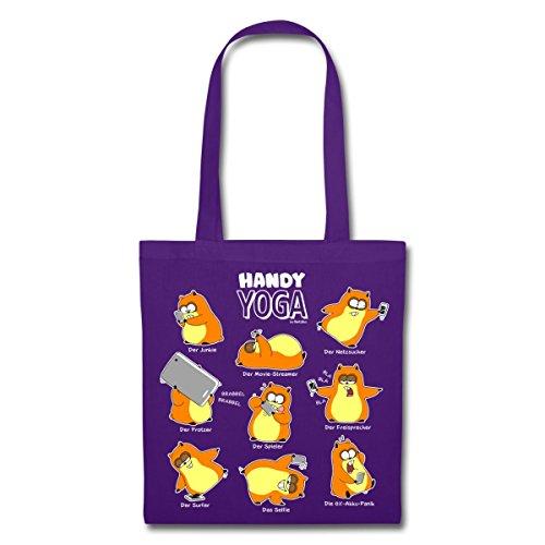 Hamster Handy Yoga Stoffbeutel von Spreadshirt® Lila