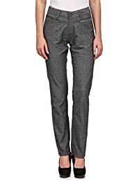 Wear Your Mind Grey Cotton Printed Chinos For Women FPLTR001.1W.J
