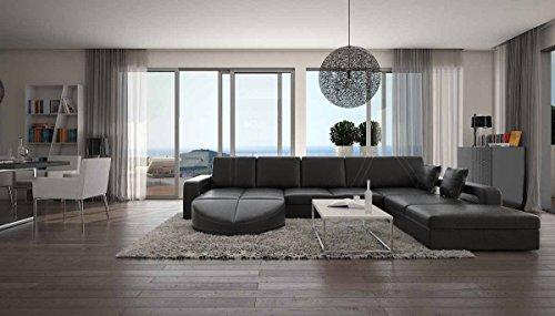 SalesFever Wohn-Landschaft XXL mit Kunstleder Bezug 335x220 cm L-Form schwarz | Duragani | Designer Couch-Garnitur mit Ottomane rechts | XXL Sofa für Wohnzimmer schwarz 335cm x 220cm
