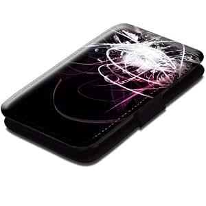 Abstrait 10014, Moderne, Noir Coque Housse Pochette Cover Coquille en Cuir avec Dessin Coloré et Fermeture Noir Magnetique pour Samsung Galaxy S3 Mini