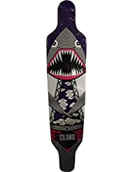 Clans Longboard Freeride Cruiser Deck Flying Dinoshark Purple 40.0 x 9.5 inch with scratches at a special price !!!