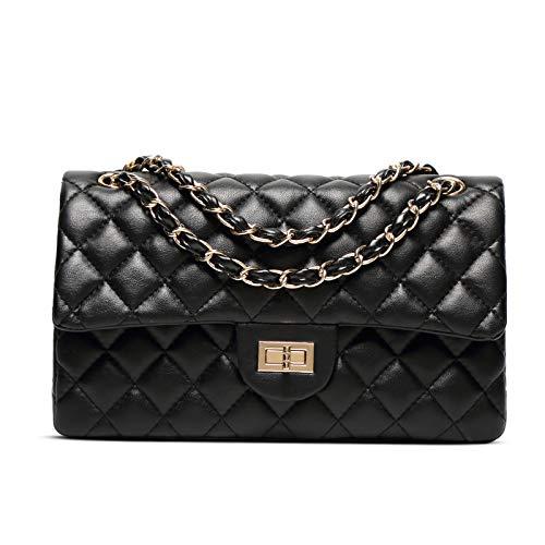 Lwlroyti Frauen Handtasche und Geldbörse,Lingge Chain Bag Schaffell Handtaschen einfache vielseitige Schulter Umhängetasche, schwarz,PU - Kette Schultertasche - Chanel Schwarz Leder