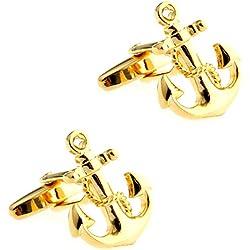 CIFIDET Ancla de oro con gemelos de cadena Hombres de moda camisa de joyería con caja de regalo