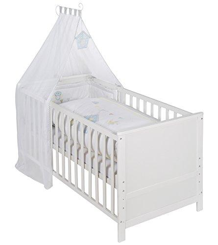 roba 203008WES183 Komplettbett Set 'Wiesenglück', Babybett weiß  Himmel, Nest, Matratze, Kombi Kinderbett 70 x 140 cm umbaubar zum Junior Bett (Bett Insgesamt)