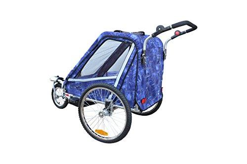 Papilioshop Leon Radanhänger für 1oder 2Kinder, Vorderrad drehbar, Kinderanhänger für das Fahrrad, klappbarer Anhänger mit Türöffnung, New Jeans - 4