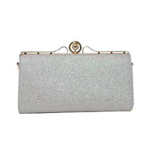 NEU Glitzer Lackleder Hartschale Kiste Damen bräutlich Ball Abend Geldbörse Clutch Tasche - Champagner, Medium Silbern